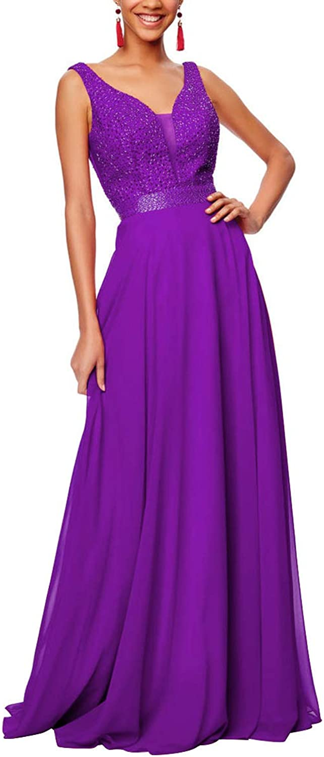 Beaded Prom Dresses Long VNeck Open Back Wedding Party Gowns Evening for Womens 2019