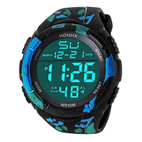 Sportuhr Uhren für Männer Wasserdicht Männer Edelstahl Business Armbanduhr Mann Runde Uhr Analog Digital Military Army Sport LED Wasserdichte Armbanduhr (A)
