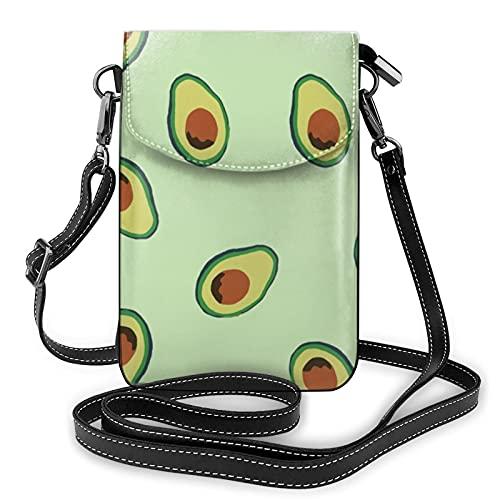 Patrón de aguacate señoras cartera teléfono móvil bolsa mini hombro con correa de hombro monedero titular de la tarjeta