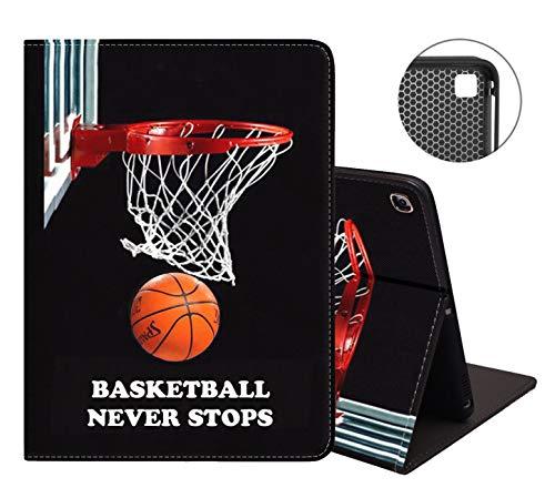 Schutzhülle für iPad 7. Generation/iPad 10.2, weiche Gummi-Rückseite, Lederhülle, verstellbarer Ständer, automatische Wake/Sleep-Funktion, Smart Case für iPad 10,2 Zoll – Basketball Never Stops