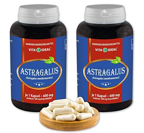 VITA IDEAL ® Astragalus-Wurzel (Astragalus membranaceus, Tragant-Wurzel) 2x360 Kapseln je 600mg, aus rein natürlichen Kräutern, ohne Zusatzstoffe