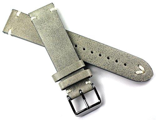 Sulla - Cinturino per orologio da polso in pelle, 20 mm, stile vintage Aviator BS con cuciture bianche, colore: grigio