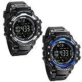 JewelryWe 2 PCS Reloj Deportivo Inteligente Smart Watch Bluetooth Recordatorio de Llamadas, Podómetro, Control Remoto de Cámara, Seguimiento de Calorías, San Valentin