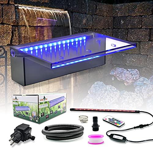 """LONGRUN Brunnen Garten Wasserfall mit mehrfarbigem LED, Wasserfall Garten mit 47.2"""" PVC-Rohr für Außengarten Felsenhinterhof und Pool -11.8' x 8' x 4'(B x T x H)"""