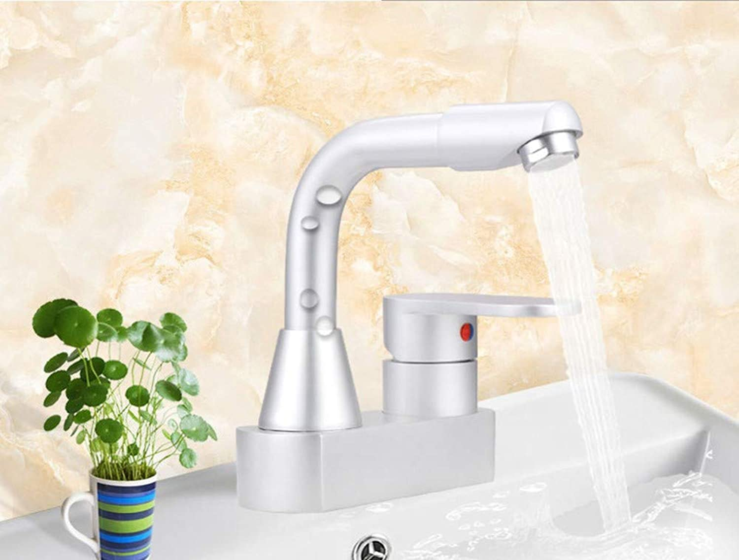 Zhcmy?Faucet Space Aluminum Faucet Basin Faucet Bathroom Cabinet Mixed Water Double Hole Hot And Cold