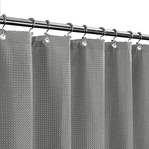 Langer Stoff Waffelgewebe Duschvorhang 190,5 cm Höhe, Hotel Luxus Spa, 230 g/m², strapazierfähig, wasserabweisend, maschinenwaschbar, graues Piqué-Muster, 71 x 75 cm