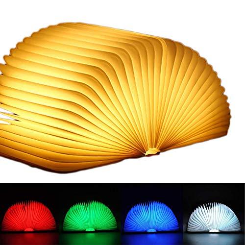 EasyULT Lampada Libro USB Ricaricabile, Lampada Led a Forma di Libro, 5 Colori Mutevoli, RGB Pieghevole in Legno Magnetico...