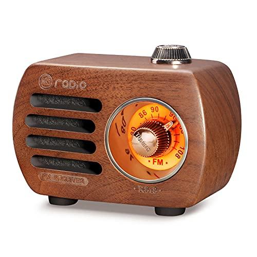 「タイムセール」Gemean R-818 木製 ラジオBluetooth スピーカー小型ラジオ ワイドFM レトロ 充電式 ベースプレーヤー AUX 対応(胡桃色)