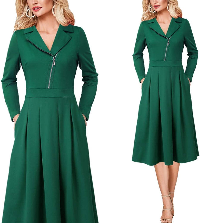 MTBDLYQ Woman'S Dress,Womens Elegant Asymmetrical Zip Lapel Pleated Pockets Work Business Office Party A-Line Dress