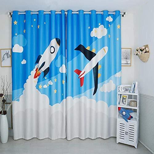 QGWMCD Cortina Opaca térmica Aislante,Estrellas de avión Cohete Rojo Azul,Estampado Cortinas Opacas Térmicas Aislantes con Ollaos para niños Hogar Dormitorio Salón 110x215cmx2