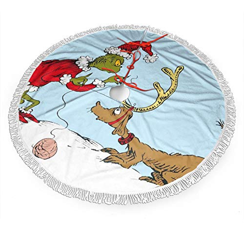 Nyf The Grinch and Max Christmas Tree Skirt with Fringe Mat Xmastree Skirt for Party Holiday Decorations 48