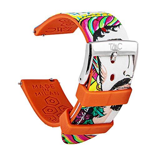 TAAC SPECIAL EDITION Cinturino Orologio Made in Italy, Cinturino 20mm Fantasia, Cinturino Silicone 20mm Medicale Anallergico, Cinturino Sgancio Rapido Pratico e Veloce, Cinturino Fantasia i Mori