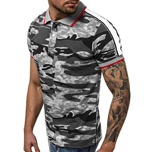 XJWDTX Sommer Herren Revers T-Shirt 3D-Digitaldruck Camouflage Dünne Kurzärmelige Herren Polo-Shirt