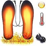 Potok Fußwärmer, Sohlenwärmer, Beheizbare Einlegesohlen Thermosohlen, Einlegsohlen mit USB, 3 Warmstufen, Waschbar, Größe 41-45