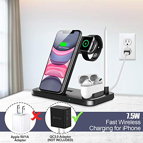 Wireless Charger, QI-EU 4 in 1 Qi-Certified Fast Charging Station Compatible Apple Watch Airpods Pro iPhone 11/11pro/X/XS/XR/Xs Max/8/8 Plus, Wireless Charging Stand Compatible Samsung Galaxy S20/S10