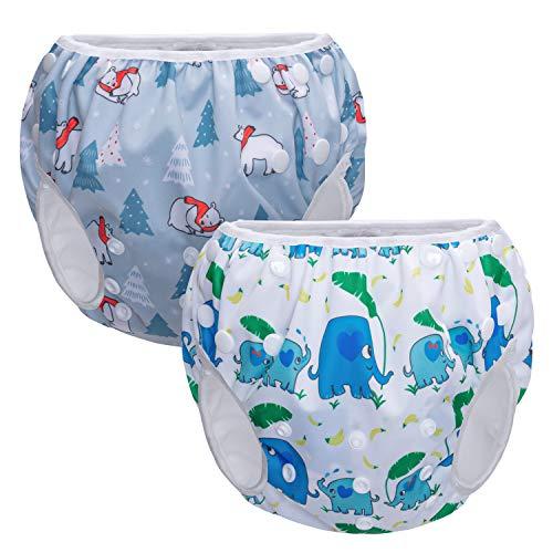 Teamoy Schwimmwindel Verstellbar, Schwimmhose Baby Jungen, Baby Badehose Wiederverwendbar, Mädchen Badewindelhose für 0-36 Monaten Baby, Elefant und Bär(2 Stücke erhalten)