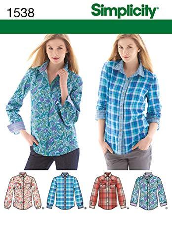 Simplicity 1538 Schnittmuster für Damenhemd, Größen 42-50
