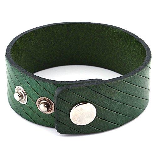 DonDon - Pulsera de Piel, Color Verde