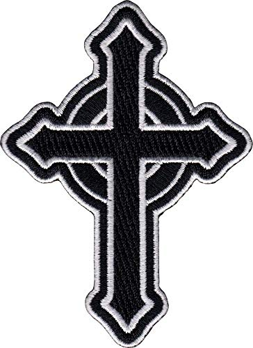 Celtic Cross - Black with White Outline - Cut Out Embroidered Iron On or Sew On Patch