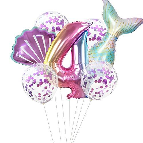Haosell Globo de sirena grande para 4 años, decoración de cumpleaños infantil, multicolor, 1 globo de sirena XXL, con número de 4 números, 1 cuenco y 4 globos de confeti.