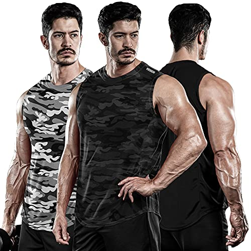 DRSKIN Men s 3 Pack Dry Fit Muscle Tank Tops Mesh Sleeveless Gym Bodybuilding Training Athletic Workout Cool Shirts (Big-ME-TA (B+MGY+MBB), XL)