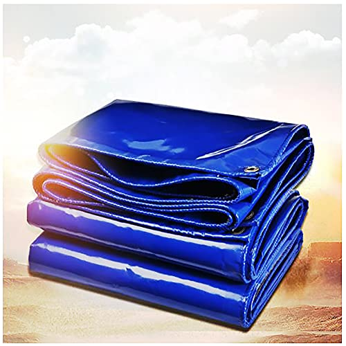 Lona de Tela de PVC Azul Lona para Camiones 2x3m 0.4mm de espesor Toldo de Construcción con Ojales 550g/m² Resistente al nieve Resistente al viento para Proteger Barcos Coche (Size:2x5m6x16FT,Color:B)
