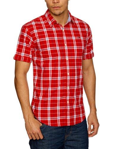 Tommy Hilfiger - Camisa Casual - Clásico - Manga Corta - para Hombre Rojo Tango Red/Multi Large