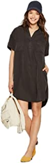 Women's Short Sleeve Shirt Dress – Black Medium