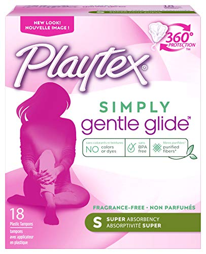 Playtex Gentle Glide Tampons with Triple Layer Protection, Super , Unscented - 18 Count (Pack of 2)