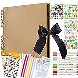 Álbum de fotos para álbum de recortes, 80 páginas negras (40 hojas), libro de fotos DIY con 10 bolíg...