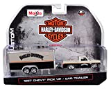 Maisto 1987 Chevrolet Pickup Truck with Enclosed Car Trailer Pearl Beige/Silver/Black Harley Davidson 1/64 Die-Cast Model Car 15363-HD2
