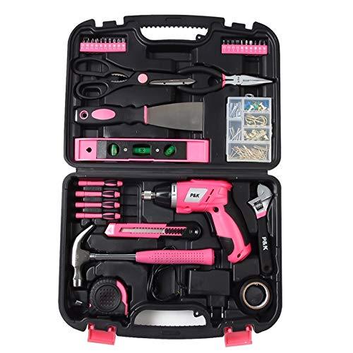 135 Teilig Werkzeugset Werkzeugkoffer Werkzeugkasten Pink Rosa - 2