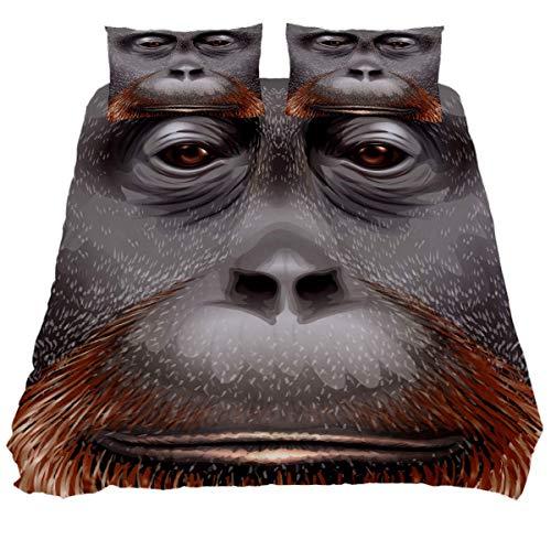 YZ-YUAN an Orangutan Face Bedding Sets Breathable Bedclothes 3 Pieces Bedding Duvet Cover Sets (1 Duvet Cover + 2 Pillowcases) Room Decor Ultra Soft Microfiber(NO Comforter Included)