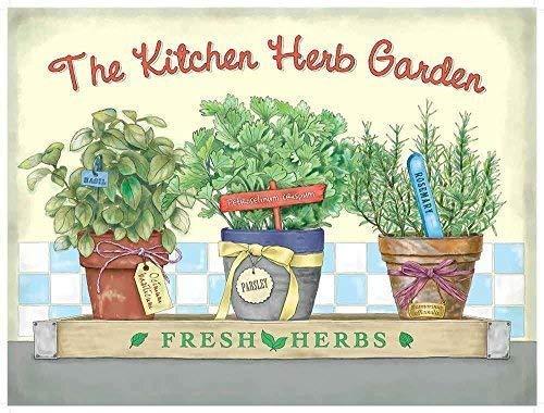 The kitchen hierba jardín Fresco hierbas. 3 maceteros, basil, perejil y Romero. Latina nombres también. Old estilo antiguo, pintura, dibujo. Metal/Letrero Pared Acero - acero, 9 x 6.5 cm (Imán): Amazon.es: Hogar