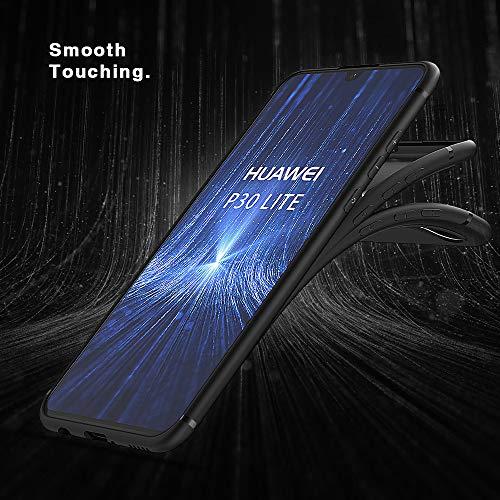 BENNALD Hülle für Huawei P30 Lite Hülle Soft Silikon Schutzhülle Case Cover - Premium TPU Tasche Handyhülle für Huawei P30 Lite (Schwarz,Black) - 2