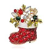 U/N Botas navideñas de tulipán Joven Alfileres Broche de Cristal Completo Joyería de Moda para Mujeres y Hombres Traje de Vestir Buen Regalo