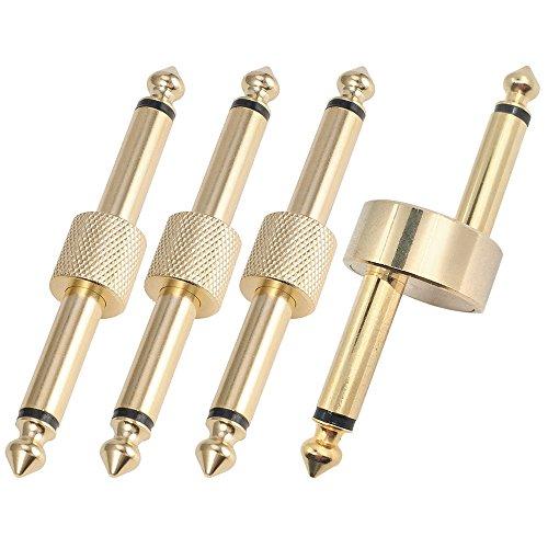 AFUNTA Gitarreneffekt-Pedal-zu-Pedalverbinder, Metall, goldfarben, gerade, Z-Typ-Kupplung, 6,35 mm, 4 Stück