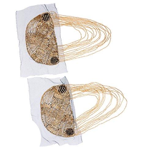 1 Paar Elegante Perlen Verschönerung mit Quastenkette Schulter Brosche Schulterklappe, Gold