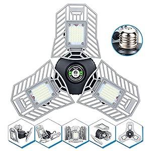 Illuminator 360 Led Garage Light 60W Garage Light 6000LM Screw in Light Bulb 3 Panels Ceiling Light Fixture Deformable LED Shop Light Bulb Led Light for Garage Basement Workshop Attic Barn