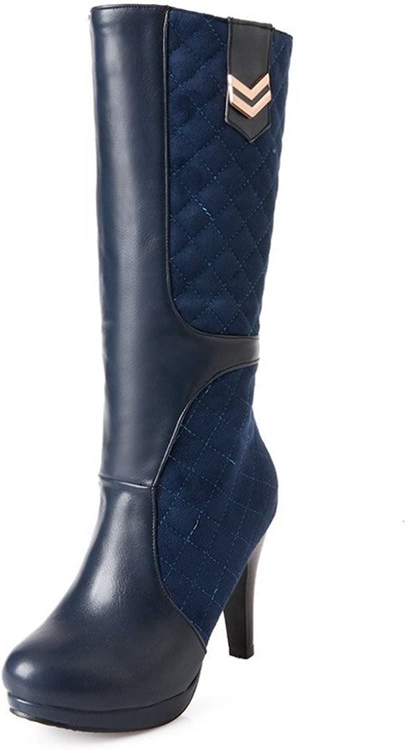 AllhqFashion Women's Blend Materials Mid-top Solid Pull-on High-Heels Boots