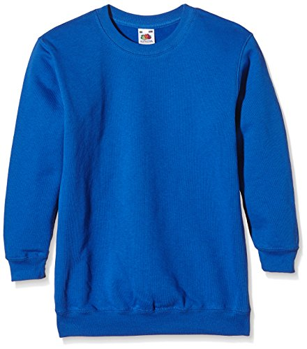 Fruit of the Loom Jungen Regular Fit Sweatshirt, Blau (Royal 51), Gr. 140 CM (Herstellergröße: 9/11 Jahre )
