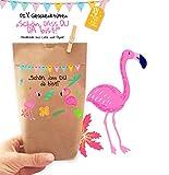 6x wunderschöne FLAMINGO Geschenktüten - Tüten liebevoll bedruckt aus Kraftpapier, zum Verpacken von Geschenken Gastgeschenken Mitgebsel Giveaways Kindergeburtstag Hochzeit Party. 100% recyclebar!