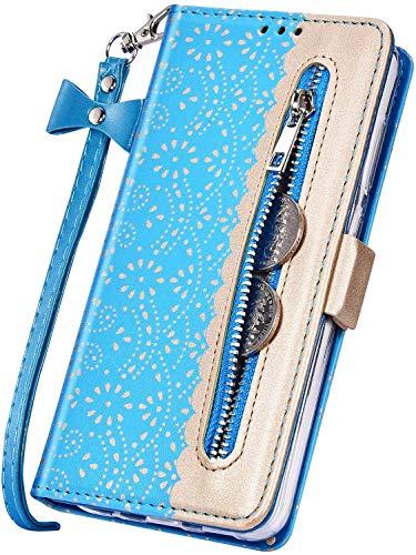 Surakey Coque Galaxy A50 Housse Etui,Élégantes Fleur Motif Housse Etui Fermeture éclair Étui à Rabat en Cuir PU Portefeuille Flip Case Cover Magnétique avec Fonction Stand (Bleu)