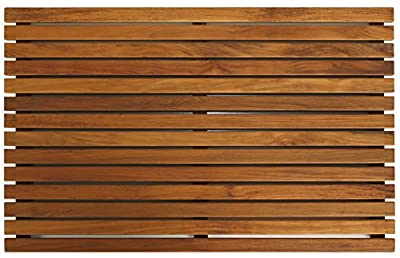 Bare Decor Zen Spa Shower or Door Mat in Solid Teak Wood and Oiled Finish, 31.5 by 19.5-Inch