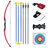 Tongtu 52' Recurve Bow and Arrows for Kids 18 Lb Practice Toy Archery Set Outdoor Beginner Gift Longbow Kit for Teen Boys and Girls (Red)