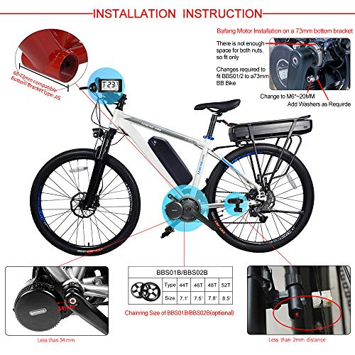Electric Bicycle Conversion Kit Mid Drive Kit Bafang BBS01B Mid Motor Kit 350W 36V Ebike Motor Bafang Drive System