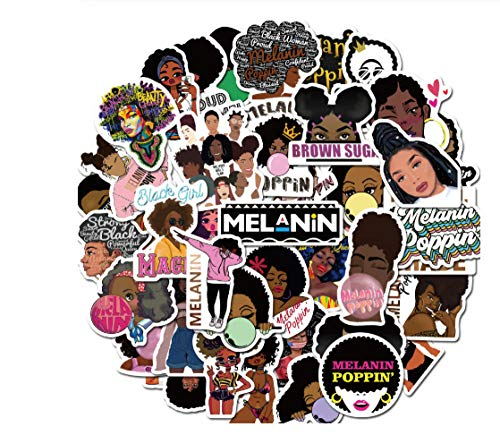 Votgl 50PCS Fashion Inspirational Melanine Poppin Black Meisjes Sticker voor Bag Laptop Skateboard Auto Fiets Sticker LD