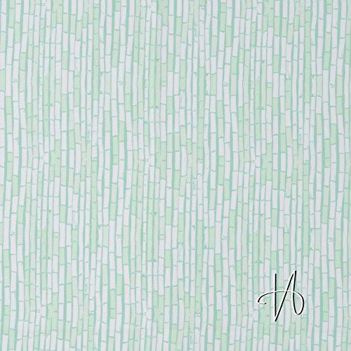 MIRABLAU DESIGN Stoffverkauf Baumwolle Popeline Bambus hellgrün mint türkis auf weiß (4-145M), 0,5m