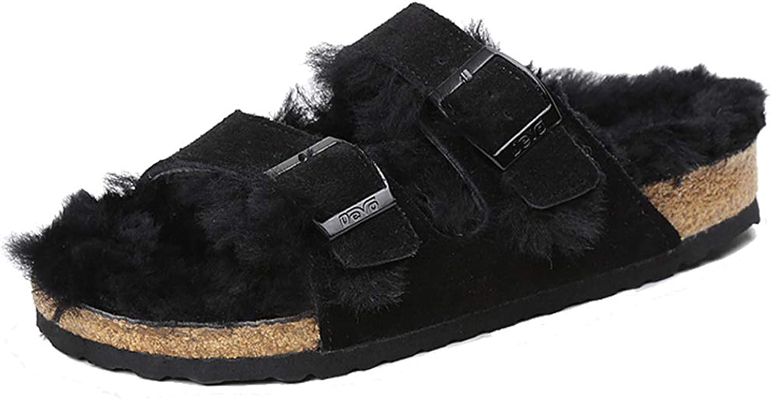 DEVO Women's Buckle Strap Shearling Lining Winter Cork Slide Slipper