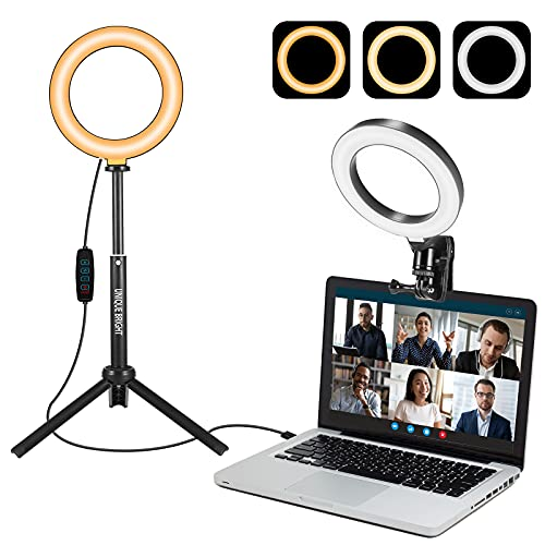 """UNIQUE BRIGHT Video Conference Lighting 6"""" Zoom Light for Laptop with Clip & Tripod Video Call Lighting with 3 Light Modes Ring Light for Selfie, Makeup, Zoom Meetings"""